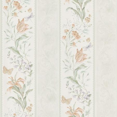 Mirage Sweet Pea Butterfly Floral Stripe Wallpaper