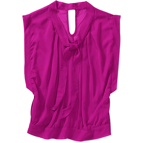 Tea Rose Women's Plus-Size Sheer Chiffon Tie Neck Blouse