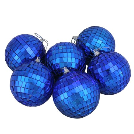 6ct Cerulean Blue Mirrored Glass Disco Ball Christmas Ornaments 3.25