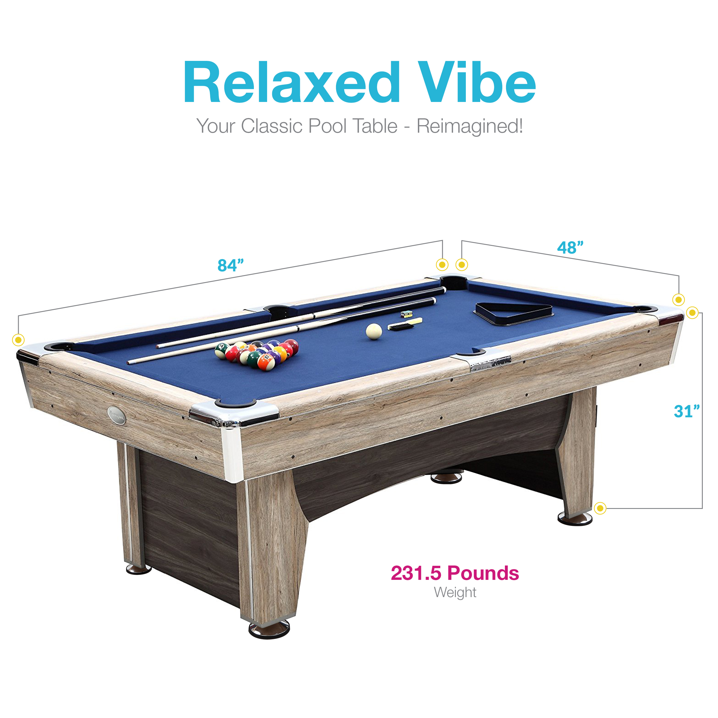 Harvil Beachcomber Indoor Pool Table Inches With Free Complete - 84 pool table