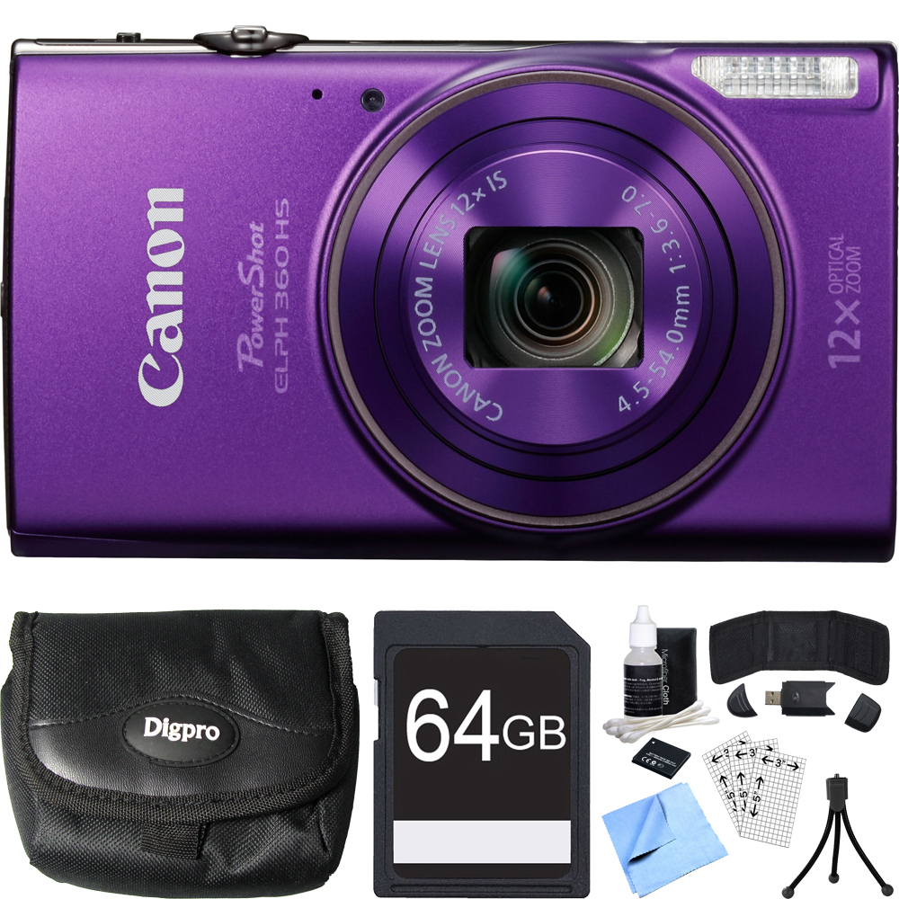 Canon PowerShot ELPH 360 HS Purple Digital Camera 64GB Card Bundle includes Camera, 64GB Memory Card, Reader, Wallet, Case, Battery, Mini Tripod, Screen Protectors, Cleaning Kit and Beach Camera Cloth