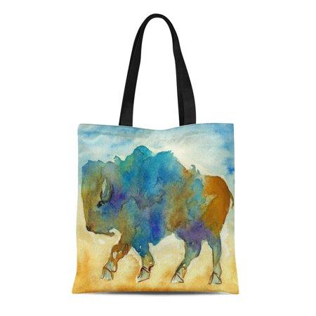 JSDART Canvas Tote Bag Watercolor Abstract Buffalo Wild Bison Paintings Large Hoofed Reusable Handbag Shoulder Grocery Shopping Bags - image 1 de 1