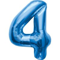 Number 4 - Blue Helium Foil Balloon - 34 inch