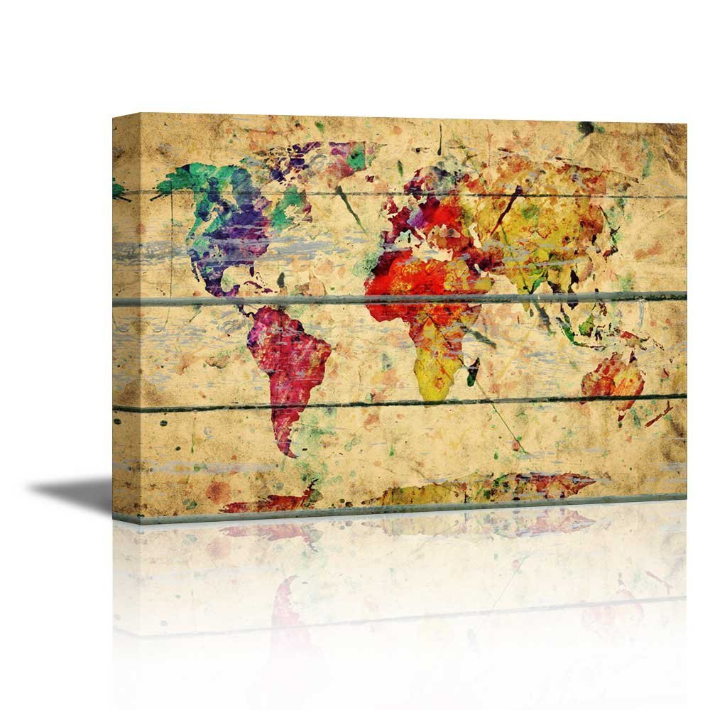 Colorful World Map Art.Wall26 Canvas Prints Wall Art Abstract Colorful World Map On