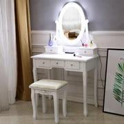 Ktaxon Vanity Table 10 LED Lights, 5 Drawers Makeup Dressing Desk with Cushioned Stool Set,Bedroom Vanities Set White