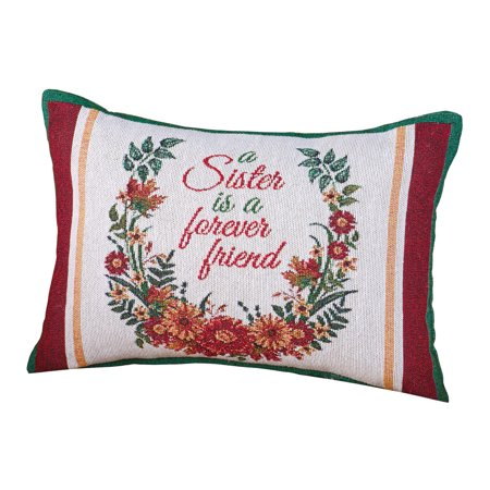 (Sisters Floral Tapestry Throw Pillow, Gifts for Sister Home Décor Accent, 12 x 8 inches)