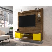 Manhattan Comfort Baxter 62.99 Freestanding Mid-Century Modern Entertainment Center with LED Lights and Décor Shelves in Rustic Brown and Yellow