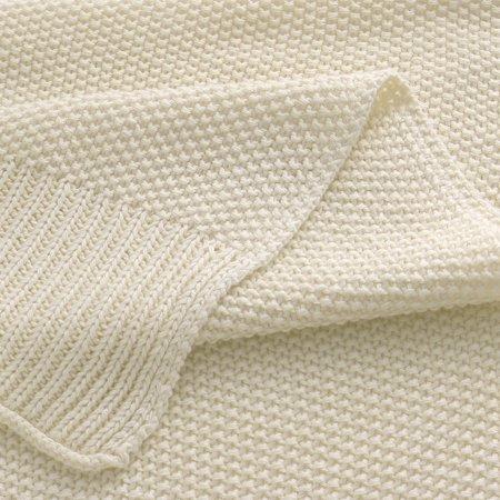 """knit blanket full size beige 70"""" x 78"""" - image 5 de 8"""
