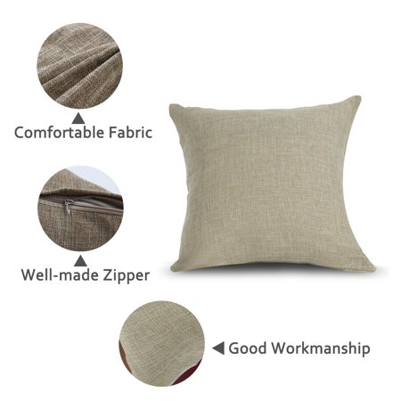 Decorative Square Linen Cushion Cover Case for Couch 18 x 18 Inch Beige Set of 2 - image 3 de 7