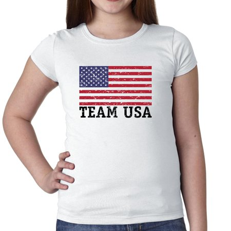 Team USA - Olympic Games - Rio - Flag Girl's Cotton Youth T-Shirt (Team Usa Shop Com)