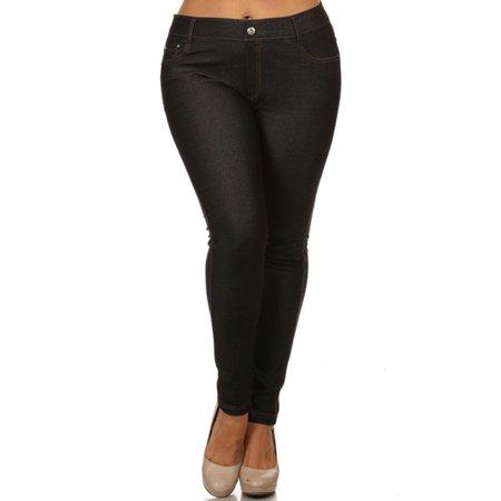 1926f97481b Simplicity - Women s Plus Size Denim Leggings Jeggings with Pockets ...