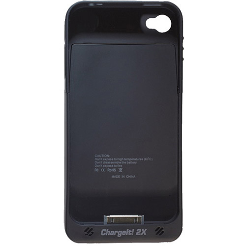 PC Treasures ChargeIt 2X Case with Built-In Charger for Apple iPhone 4 and 4S, Black
