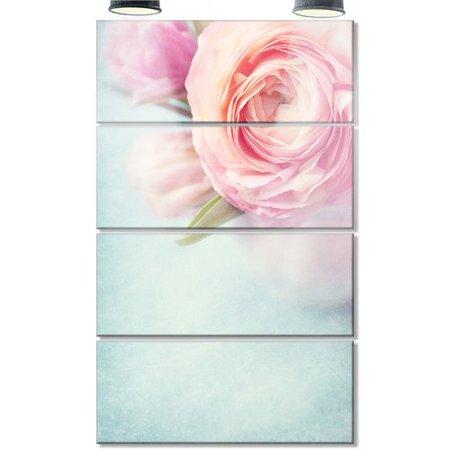 - Design Art Full Bloom Pink Flowers in Vase' 4 Piece Photographic Print on Metal Set