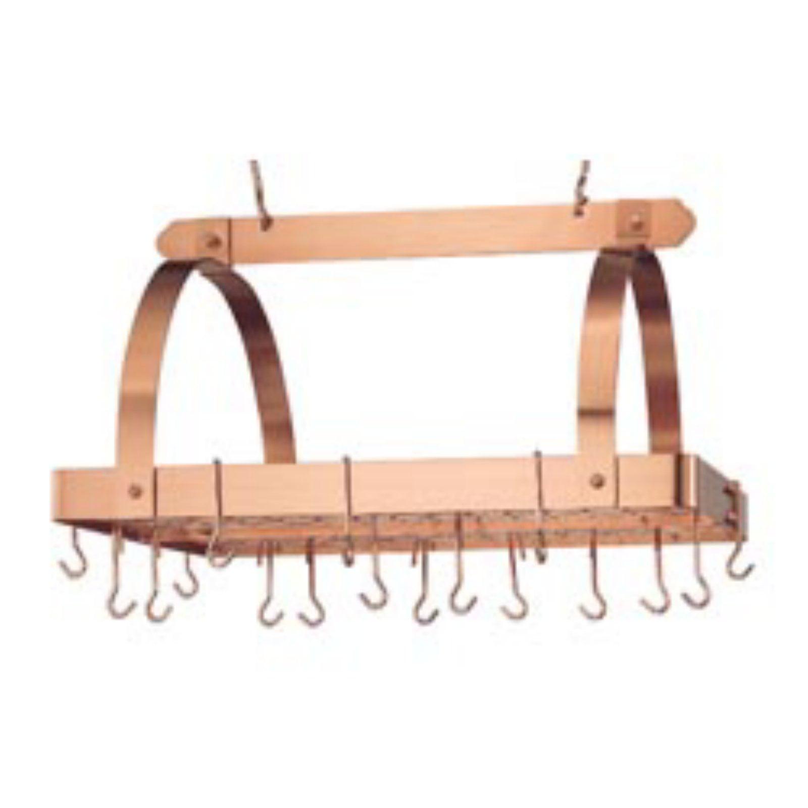 Satin Copper Rectangular Hanging Pot Rack with Grid & 24 ...