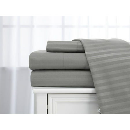 - Deluxe Home 100% Cotton  400 Thread Count Dobby Stripe Sheet Set ( Twin, Silver)
