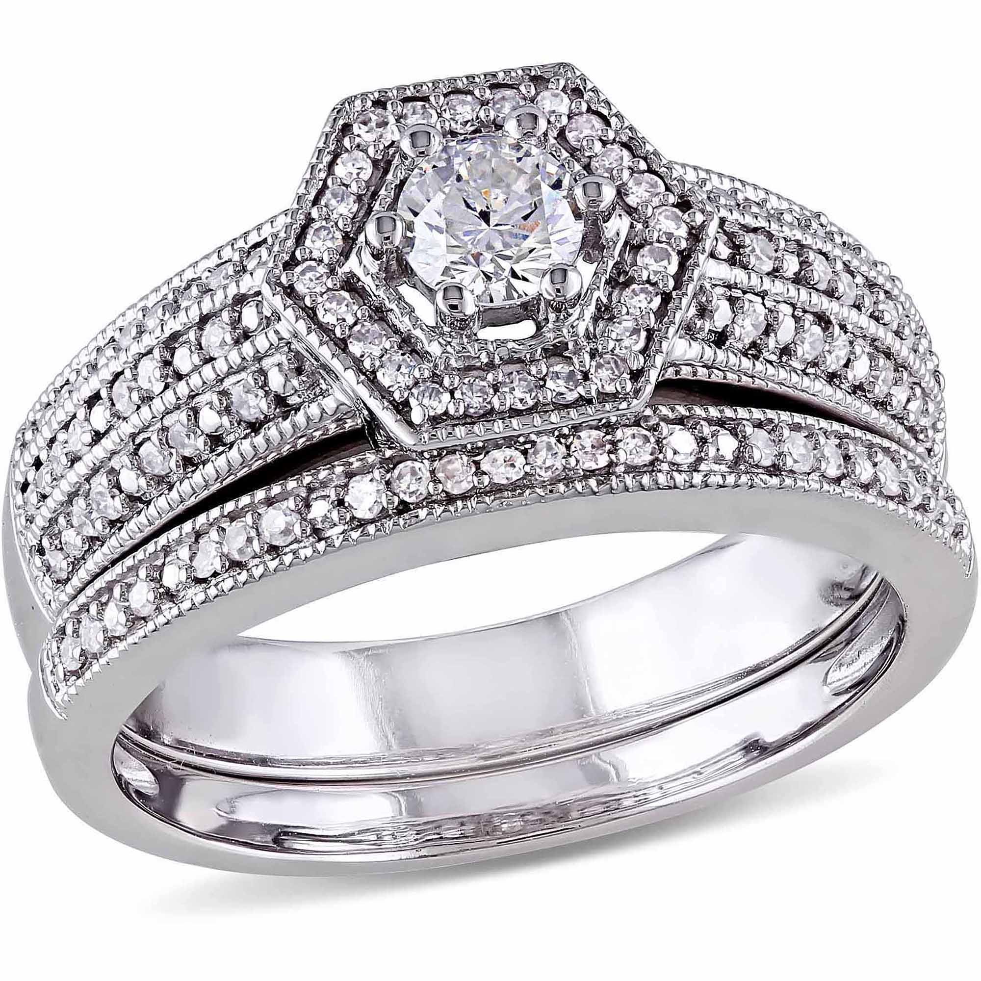 Miabella 1/2 Carat T.W. Diamond 14kt White Gold Bridal Set