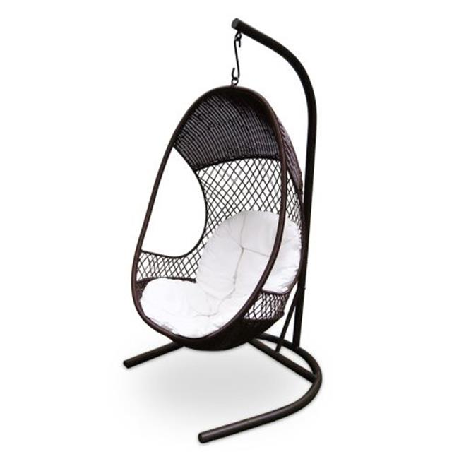 Alpine VTRXY100BR 74 inch Metal Woven Swing Chair With Cushion