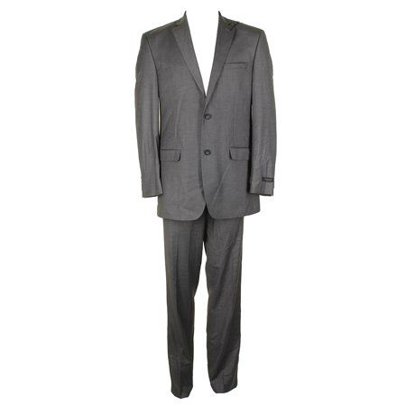 Andrew Marc  York Mens Grey Classic-Fit Sharkskin 2 Piece Suit 40L ()