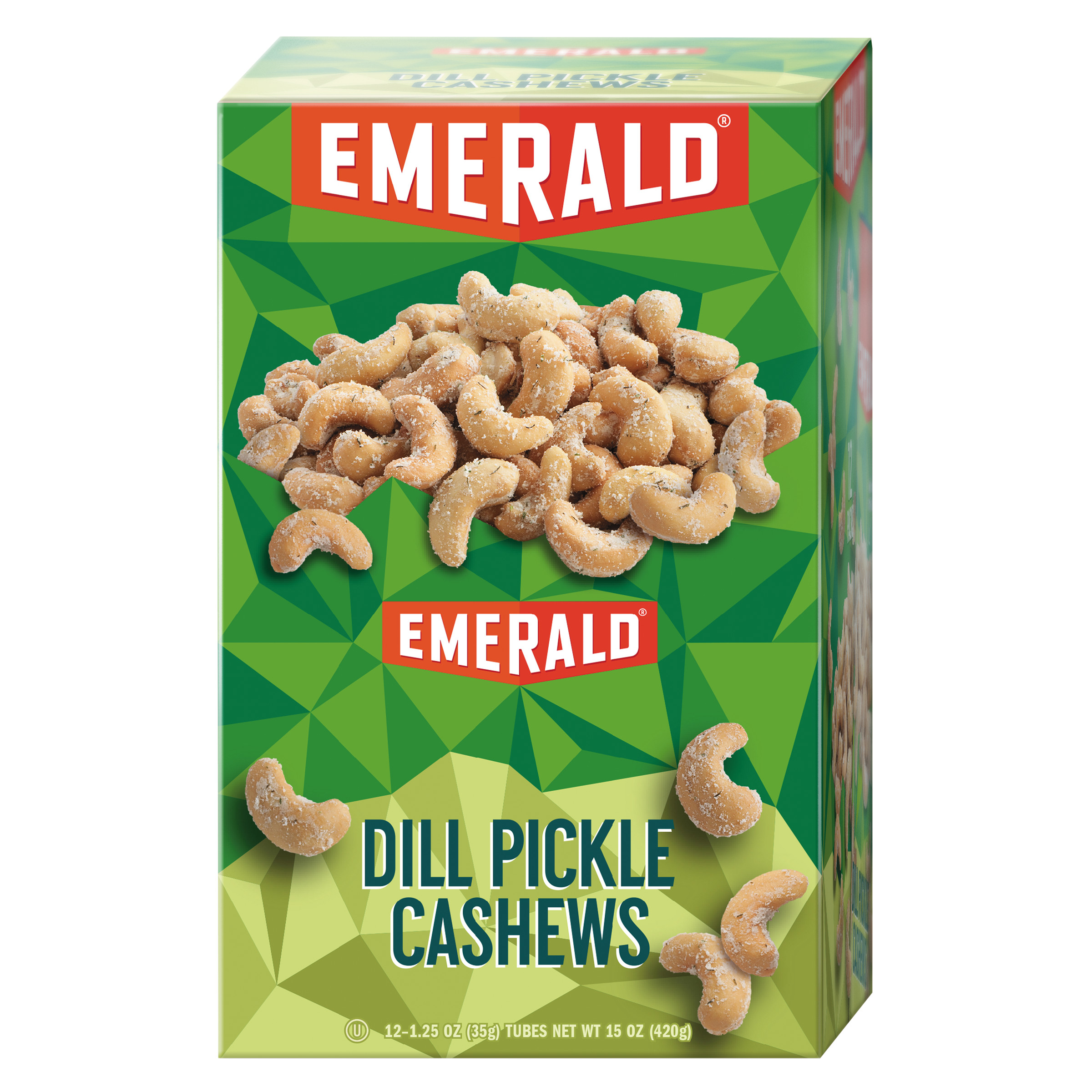 Emerald Snack Nuts, Dill Pickle Cashews, 1.25 oz Tube, 12 Box by Diamond Foods
