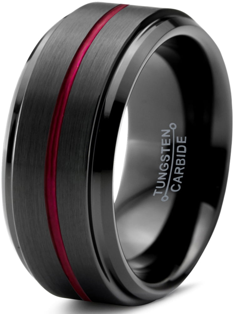 Tungsten Wedding Band Ring 10mm for Men Women Red Black Beveled