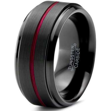 Tungsten Wedding Band Ring 10mm For Men Women Red Black