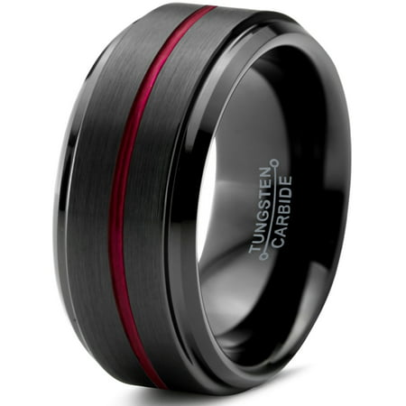 Tungsten Wedding Band Ring 10mm for Men Women Red Black Beveled Edge Brushed Polished Center Line Lifetime Guarantee](Red Wedding Ring)