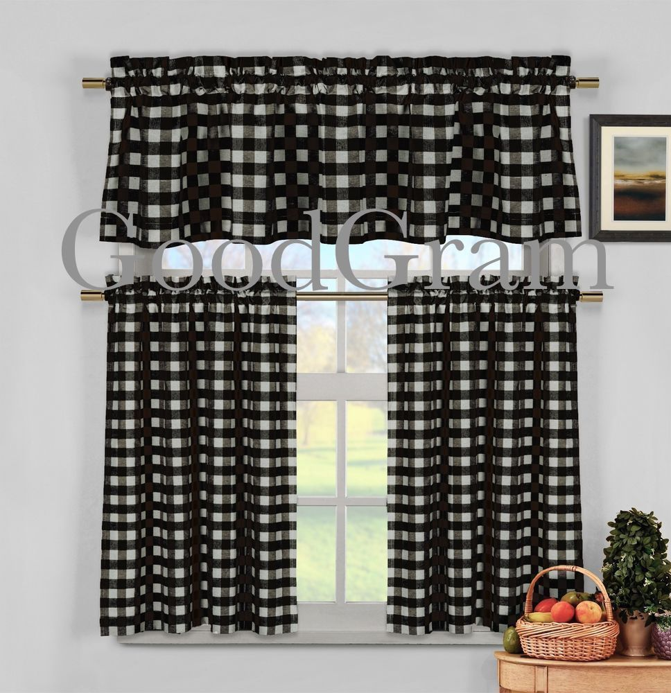 Black White Gingham Checkered Plaid Kitchen Tier Curtain Valance
