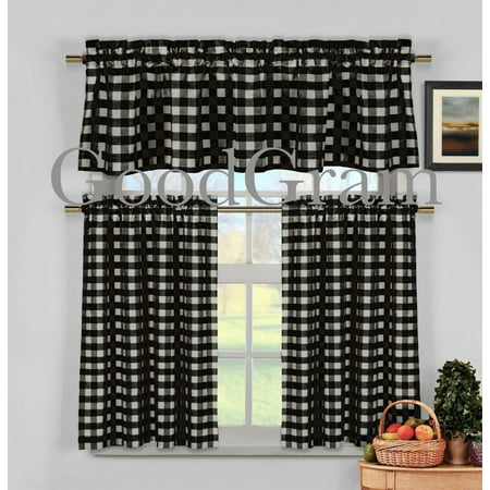 Black & White Gingham Checkered Plaid Kitchen Tier Curtain Valance