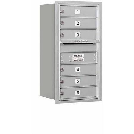 "Salsbury Industries 4C Horizontal Mailbox 8-Door High Unit (30.5""), Single Column, 6 MB1 Doors, Aluminum, Rear Load, USPS Access"
