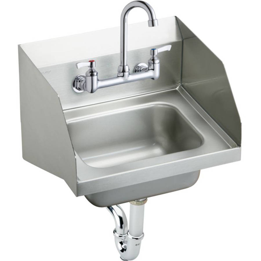 Elkay CHS1716LRSC Commercial Stainless Steel Handwash Sink Package with 2 Faucet Holes