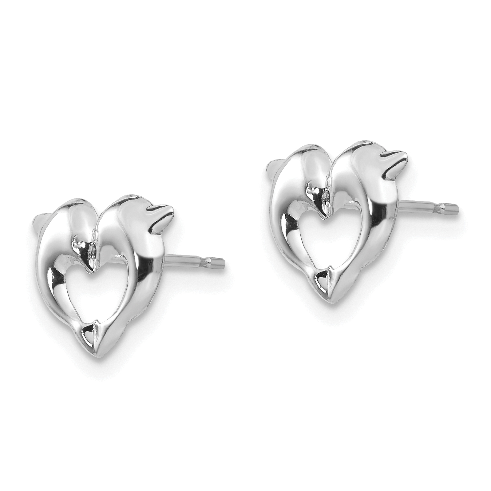 14k White Gold Screwback Dolphins Post Stud Earrings Animal Sea Life Fine Jewelry Gifts For Women For Her - image 2 of 3