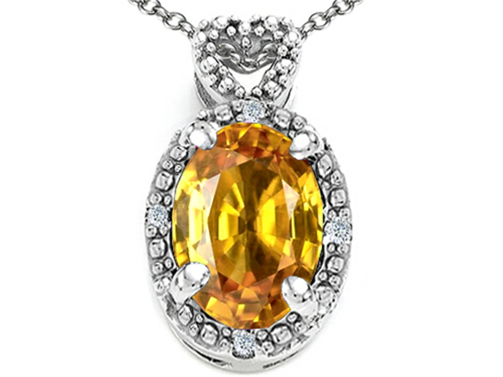 Tommaso Design Oval 8x6mm Genuine Citrine Pendant Necklace by