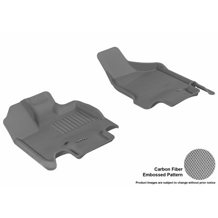 3D MAXpider 2008-2017 Dodge Grand Caravan Front Row All Weather Floor Liners in Gray with Carbon Fiber Look