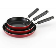 Farberware Aluminum Nonstick 8-Inch, 10-Inch and 11-Inch Triple Pack Skillet Set, Red