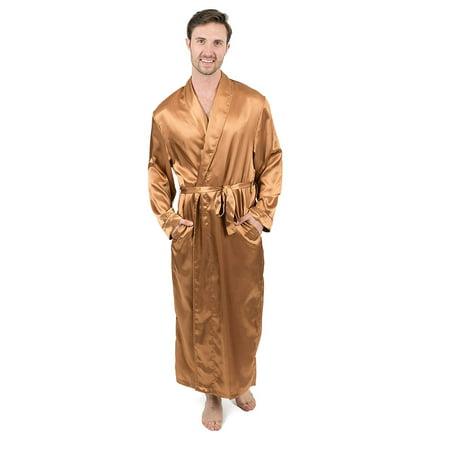 Leveret Mens Robe Christmas Satin Robe Robe Beige Size Medium - Christmas Robe