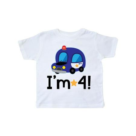 4th Birthday Boys Police Car Policeman Toddler T-Shirt](Policeman Uniform)