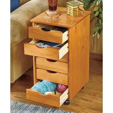 Wood Storage Drawers - 6-Drawer Wood Storage on Wheels -