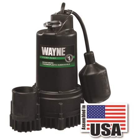 Wayne Rsp Submersible Sump Pump With Piggy Back Tether Float Switch  1500 Gph  1 3 Hp  120 V