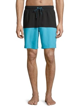 "George Men's and Big Men's 8"" All Guy Colorblocked Swim Shorts, up to Size 3XL"