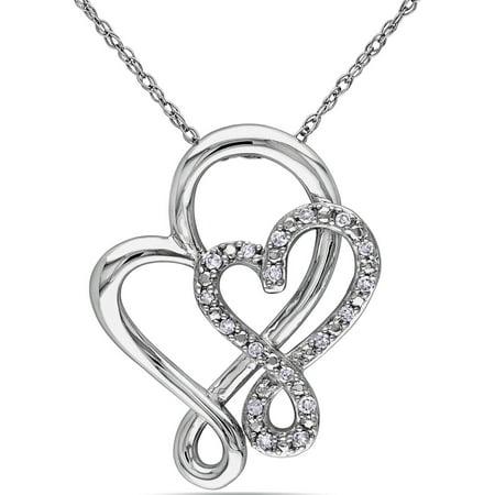 Miabella 1/10 Carat T.W. Diamond 10kt White Gold Double Heart Infinity Interlocked Pendant, 17