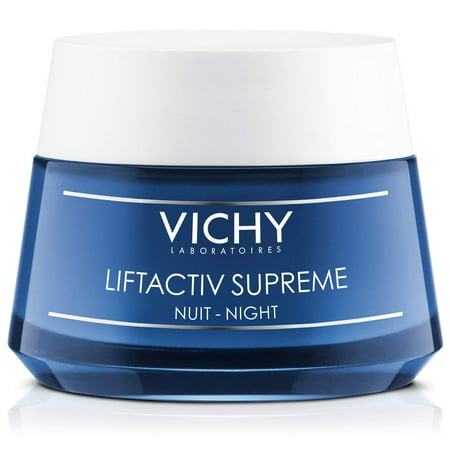 Vichy LiftActiv Supreme Night Cream, Anti Aging Face Cream with Vitamin C & Rhamnose to Firm & Brighten, Suitable for Sensitive Skin 1.69 fl. oz