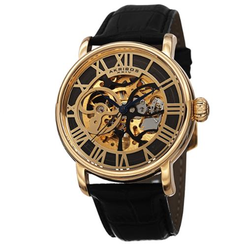 Akribos XXIV Men's Mechanical Skeleton Round Leather Strap Watch