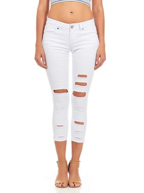Cover Girl Denim Ripped Jeans for Women Juniors Cropped Slim Fit Skinny Jeans Size 1112 Dark Rinse