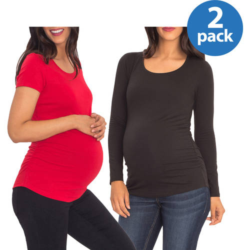 Great Expectations Maternity Short or Long Sleeve Tee 2 Pack Value Bundle
