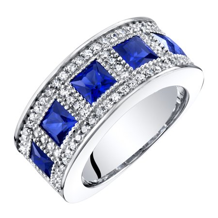 Sterling Silver Princess Cut Created Sapphire Anniversary Ring Band 2 Cts Princess Blue Sapphire Ring