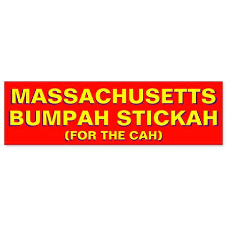 Car bumper sticker massachusetts bumpah stickah funny