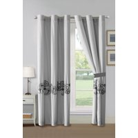 4-Pc Bali Paisley Garden Floral Embroidery Striated Stripe Curtain Set Gray White Drape Grommet Sheer Liner