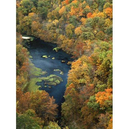 Fall forest and Ha Ha Tonka Spring, Ha Ha Tonka State Park, Missouri, USA Print Wall Art By Charles