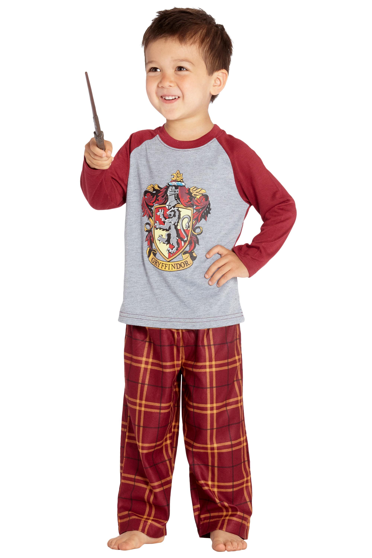 Harry Potter Pajamas Little And Big Boys' Raglan Shirt And Plaid Pants Set -Gryffindor, Ravenclaw, Slytherin, Hufflepuff