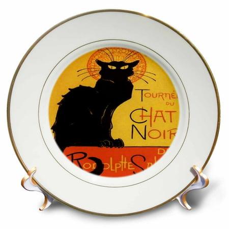 Art Nouveau Plate (3dRose Le Chat Noir - advertising, art nouveau, black cat, cat, cats, chat noir, le chat, Porcelain Plate,)